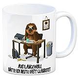 trendaffe - Kaffeebecher mit Faultier im Büro Motiv & Spruch: Aus Langeweile hätte ich Heute Fast gearbeitet