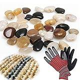 XBBLGDD Strand Steine Poliert 2,5-10 KG Pfund Glatte Unpolished Steine Hand Gepflückt, Premium-Kiesel Für Garten- Und Landschaftsgestaltung Gemischt, 1.5CM,10kg