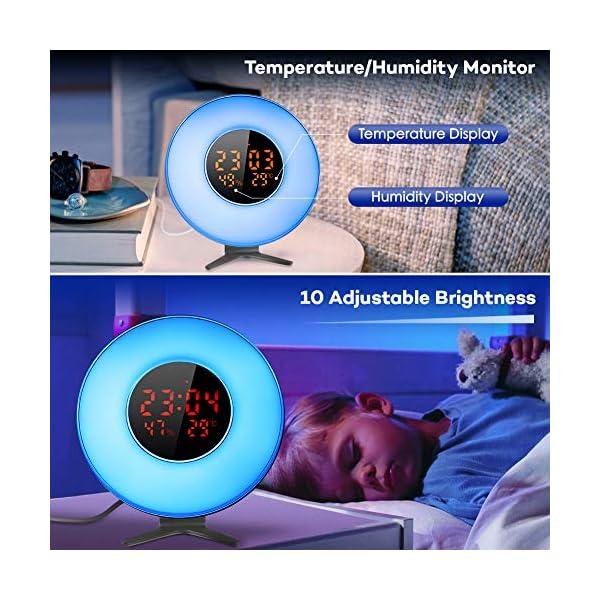 CrazyFire-Lichtwecker-Wake-Up-Licht-Sunrise-Sunset-Simulation-Wecker-mit-5-Natrlichen-Klngen-6-Farben-Tageslichtwecker-10-Dimmstufen-LED-Lichter-und-Schlummerfunktion-fr-Erwachsene-Kinde