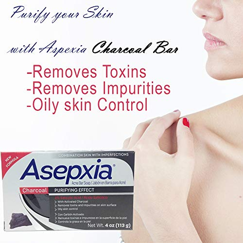Asepxia Charcoal Purifying Effect Cleansing Bar Soap 4 oz Pack of 2