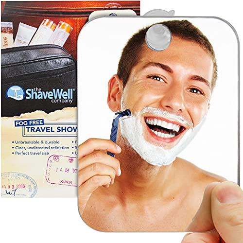 The Shave Well Company Beschlagfreier Reisespiegel zum Rasieren   Beschlagfreier Badspiegel mit abnehmbarer Wandbefestigung   Klein, tragbar, handlich für Make-up