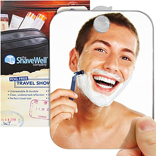 The Shave Well Company Fog-Free Travel Mirror for Shaving | Fogless Bathroom Mirror with Removable Wall Suction | Small, Portable, Handheld for Makeup