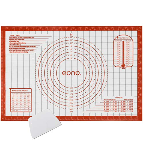 Amazon Brand - Eono Thick Silicone Pastry Mat Baking Sheet - Large Nonstick...