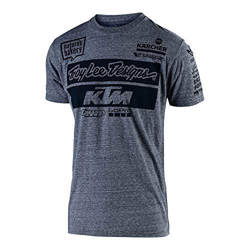 Troy Lee Designs Official Team KTM Men's T-Shirt (X-Large, Vintage Gray)