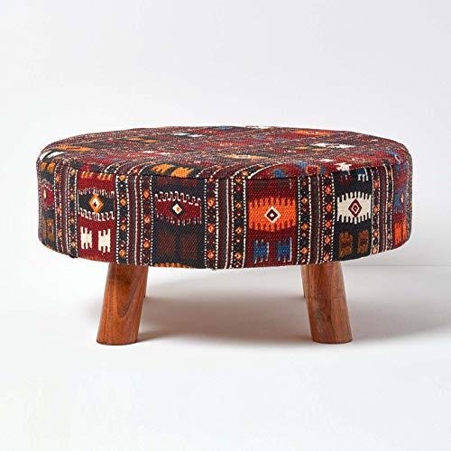 Homescapes Kilim Stoff Sitzhocker Fußhocker Schemel 62 x 62 x 32 cm mit bedrucktem Baumwoll Bezug...