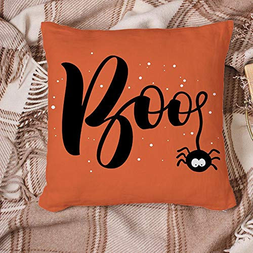 YEARGER Set of 4 Optional Halloween Throw Pillow Covers, Farmhouse Cushion Case for Sofa Couch Halloween Pillow Covers 18' x 18' Inch Cotton Linen(Trick or Treat),2PC*E