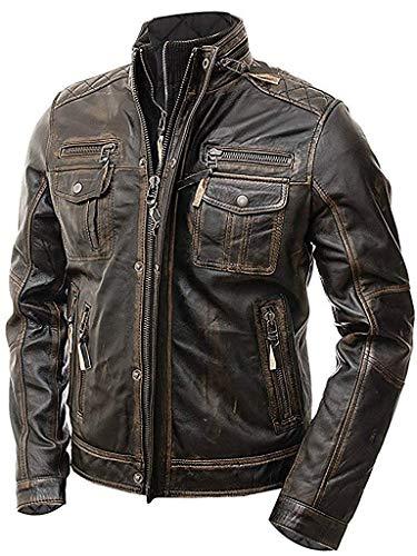 Abbraci Mens Motorcycle Biker Slim Fit Vintage Distressed Cafe Racer Real Leather Jacket - Medium - Brown