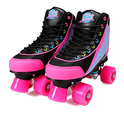 Image of Kandy-Luscious Kid's Roller Skates - Comfortable Children's Skates with Fun Colors & Designs | Disco Diva Black | Size 2