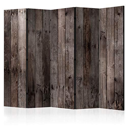 decomonkey Paravent Raumteiler XXL Einseitig Holz Brett 225x172 cm 5 TLG. Trennwand Vlies Leinwand Raumtrenner Sichtschutz spanische Wand Blickdicht Textile Haptik braun