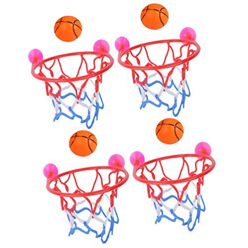 TOYANDONA 4Pc Mini Baloncesto Playset Baloncesto Juguete Bañera Juego de Disparos Baño Ventosa Baloncesto Suministros de Juguete para Niños