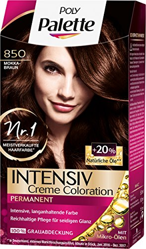 Poly Palette Intensiv Creme Coloration, 850 Mokkabraun Stufe 3, 3er Pack (3 x 115 ml)