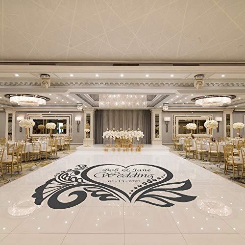 YuanMinglu Anpassbare Paar Name Herz Design Boden Aufkleber Aufkleber Hochzeit Familie Schlafzimmer Wandkunst Dekoration 111x74cm
