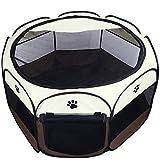 Coolty Cachorro de Corral Portátil Tienda de Mascotas de 8 Paneles para Perros, Gatos, Conejos y Animales Pequeños Marrón(S)