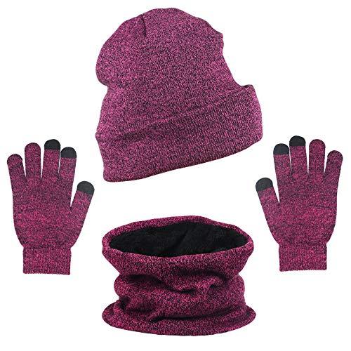 ZoomSky Set de Gorro Bufanda Unisex 3pcs Sombrero Caliente de Punto Guantes...