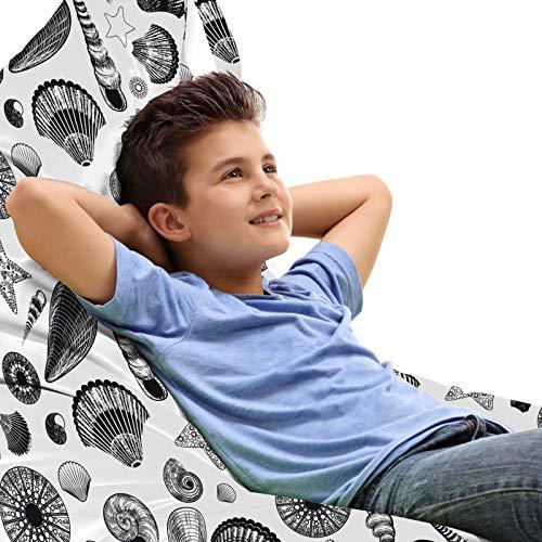 ABAKUHAUS Shells Unicorn Toy Bag Lounger Stuhl, Schwarzweiss Clams, Hochleistungskuscheltieraufbewahrung mit Griff, Schwarz und weiß