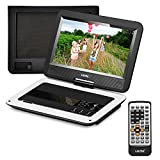 UEME Portable DVD Player with 10.1 inches LCD Screen, Car Headrest Mount Holder, Remote Control, Travel DVD Player (White)