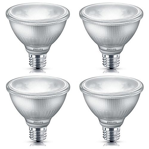 Philips LED Indoor/Outdoor Classic Glass Dimmable PAR30S 40-Degree Spot Light Bulb: 850-Lumen, 3000-Kelvin, 10-Watt (75-Watt Equivalent), E26 Base, Bright White, 4-Pack
