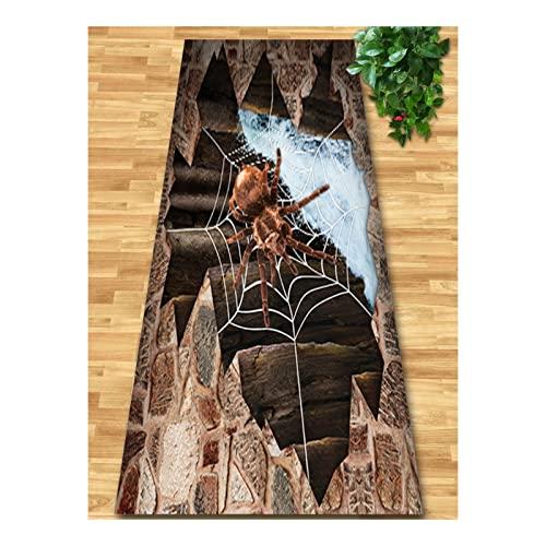 QianDa 3D Telaraña Alfombra De Pasillo, Lavable Cocina Alfombras Área Pila Baja Suave con Antideslizante Respaldo Caucho por Entrada Sala, Cuidado Facil (Color : Marrón, Tamaño : 60x100cm)
