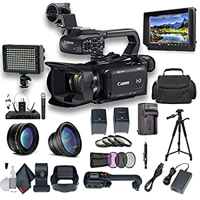 Canon XA15 Compact Full HD Camcorder with SDI, HDMI, and Composite Output Professional Bundle. Includes Extra Battery, Case, LED Light, External Monitor, Mic, Tripod and More from Canon