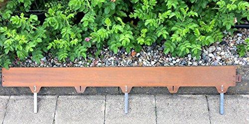 m-n rainman Corten Metall Stahl Rasenkante Beeteinfassung Raseneinfassung Länge:1,5m- Stärke:2mm- Höhe:12,5cm