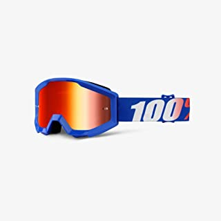 Orange Cycle Parts Strata Junior/Youth MX Motocross Goggles by 100% (Nation Blue, Red Lens)