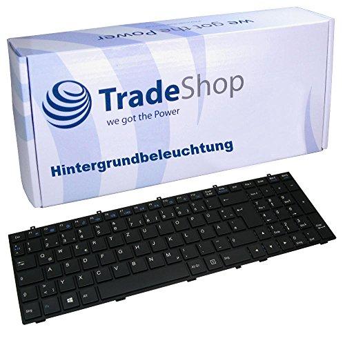 Trade-Shop Original Laptop-Tastatur Notebook Keyboard Ersatz Deutsch QWERTZ ersetzt Chicony-WJ für Clevo 35xET 37xET W350 (Hintergrundbeleuchtung + Rahmen)