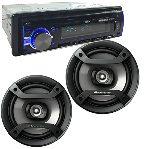 """Package 1 Pair of Pioneer TS-F1634R 6.5"""" 200W 2-Way Speakers + Audiotek AT-980BT AM/FM/MP3 Playable w/ Bluetooth/USB/AUX/SD/CD Car Stereo Receiver"""