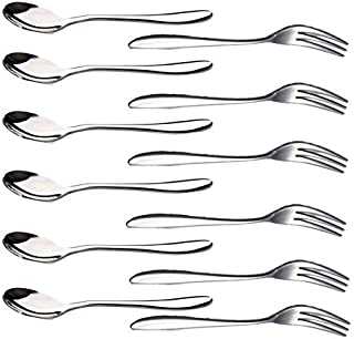 LUCKY SLD 12PCS Stainless Steel Flatware Set Including Fork Spoons Knife Tableware for Tea Dinner Server Spoon Kitchen Accessory Wedding Party (6 forks 5'' and 6 spoons5'')