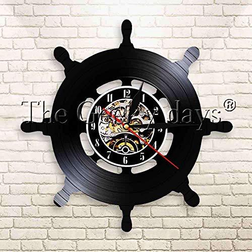 CVG 1 Pieza Volante náutico Reloj de Pared de Vinilo Reloj de Barco Barco yate Marinero Vintage Reloj de Pared decoración del hogar Reloj de Pared