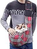 WIFIGDS Hundetragebeutel, rot kariert Kleine Pet Sling Bag(7,5 kg/16,5 Pfund) Hund Katze...