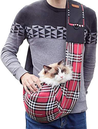 WIFIGDS Hundetragebeutel, rot kariert Kleine Pet Sling Bag(7,5 kg/16,5 Pfund) Hund Katze Schleuderträger Schultertasche mit verstellbarem Schultergurt für Yorkshire Terrier, Pudel.