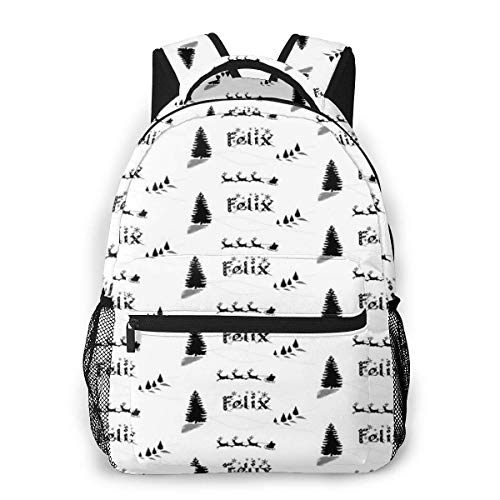 Christmas Name Gift for Felix Causal Daypack Rucksack Vintage College School Bags Multipurpose Laptop Backpack for School/Business/Work/Men/Women