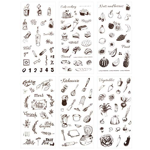 3 Set(18 Sheet) Kitchen Stuff Kitchenware Cooking Tool Cake Bread Food Fruit Vegetables Stationery Sticker Scrapbooking Journal Diary DIY Label Craft Stickers (Food)