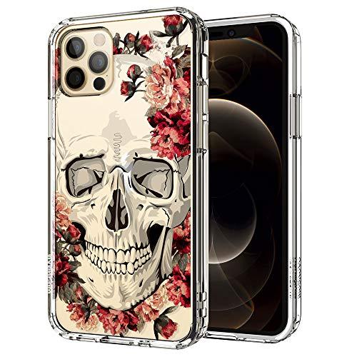 MOSNOVO iPhone 12 Pro Hülle, iPhone 12 Hülle, Blühen Blumen Flower Totenkopf Schädel TPU Bumper mit Hart Plastik Hülle Durchsichtig Schutzhülle Transparent für iPhone 12 Pro/iPhone 12 6.1 Zoll