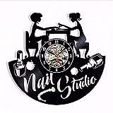 BFMBCHDJ Nail Salon 3D Horloge Murale Design Moderne Nail Art Manucure Studio Disque Vinyle Horloge Mur Montre Salon de Beauté Mur Signe Décor