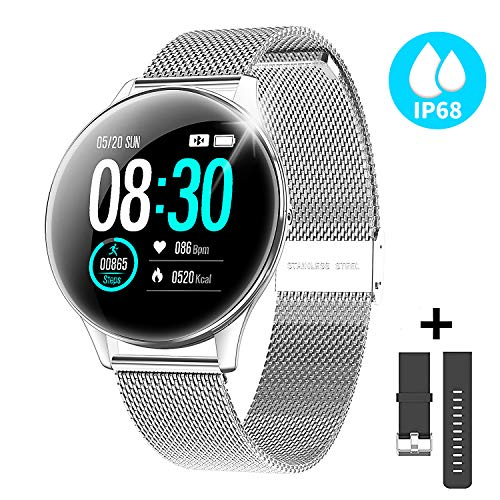 CatShin Activity Tracker for Women Man CS10 Smart Watch Round Face IP68 Fitness Tracker Waterproof with Heart Rate Monitor Sleep Step Calorie Counter Message Notification Compatible for Android/iPhone