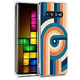 kwmobile Hülle kompatibel mit Samsung Galaxy S10 - Handyhülle - Handy Hülle Retro Streifen Kreis Blau Orange Dunkelblau
