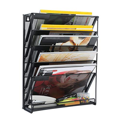 Samstar Wall File Organizer Holder 5-Tier Wall Mount Vertical File Rack for Office Home Black