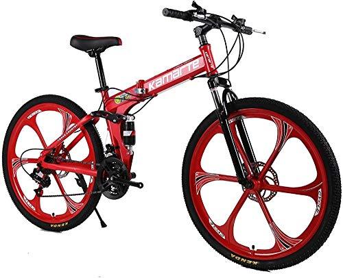Bicicleta plegable con 31/24/27 velocidades Doble disco freno de disco de doble disco de 24/26 pulgadas para la conducción urbana y viajas azules 24 pulgadas de velocidad-26 pulgadas 27 velocidad_rojo
