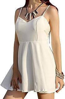 f7b6dbbda YYW Women Plunging Neckline Dress V-Neck Sling Open Back Angel Wings Cami  Dresses Mini