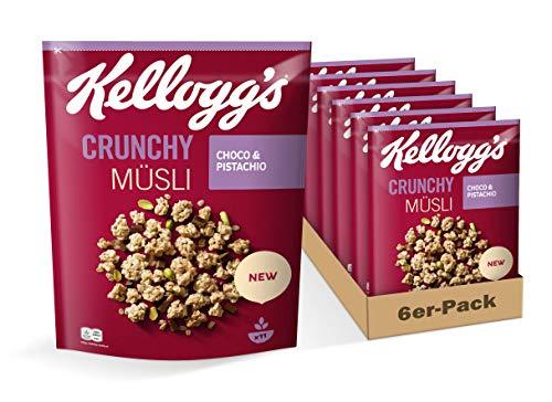 Kellogg's Kellogg's Crunchy Müsli Choco & Pistachio | Knuspermüsli mit Schoko-Pistazie-Geschmack | 6er Vorratspack | 6 x 425g,
