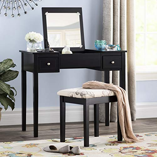 Kinkaider Vanity Set with Mirror, Overall Product Weight: 86.18 lb, Table Height - Top to Bottom: 30