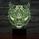 Wolf Leopard Head Diseño Facial Lámpara de Mesa táctil Lámpara de Repuesto de Color Luz Nueva luz Nocturna