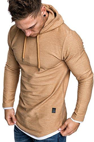 Amaci&Sons Herren 2in1 Oversize Kapuzenpullover Hoodie Sweater Sweatjacke Pullover Sweatshirt 4014 Beige L