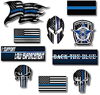 Small Mega Variety Pack of Thin Blue Line Police Officer Blue Lives Matter American Flag Vinyl Decal Sticker Car Truck BLM(10 Pack)