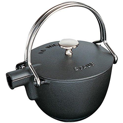 Staub 1650023 Cast Iron Round Tea Kettle, 1-quart, Black Matte