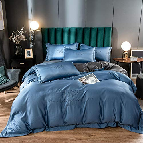 Duvet Sets Double,Ice silk four-piece European-style silky bare sleeping silk bed sheet quilt cover spring and summer washed silk-Apricot blue + dark gray_1.2 3 piece quilt cover for bed sheet 150*20
