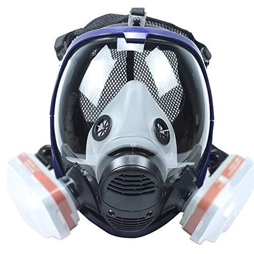 CBPE Double Filter 15 in1 Full Facepiece Respirator Lightweight Reusable Full Face Wide Field of View Eye Protection Widely Used in Organic Gas, Paint spary, Chemical, Woodworking