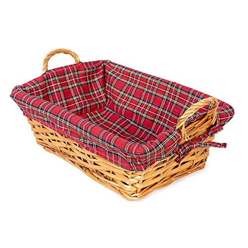 BASIC HOUSE Traditional Rectangle Bread Wicker Basket Hampers Retail Display (1)
