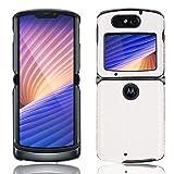 Futanwei Klassische Lederhülle für Motorola Razr 5G (2020), [Slim und Lightweight] Luxus Classic PU Leder Back Cover Handyhülle für Motorola Razr 5G Version, (Krokodil Muster - Weiß)